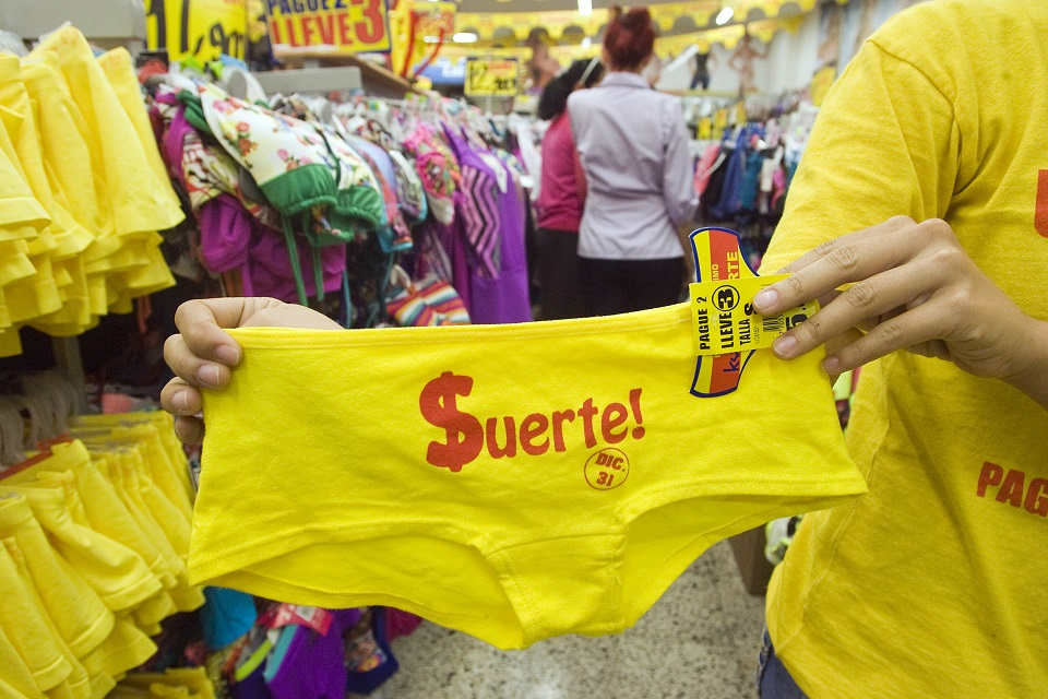 Wearing yellow underwear for good luck on New Years Eve in Colombia