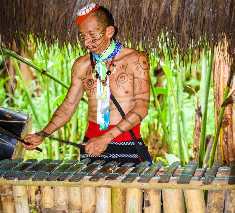 A native Colombian musician plays the marimba, a staple of the African-influenced Currulao style