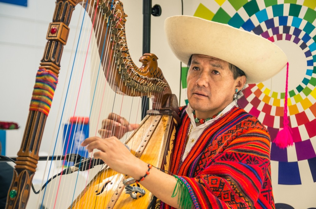 An Ecuadorian musician performs on the arpa llanera, the harp used extensively in Joropo music