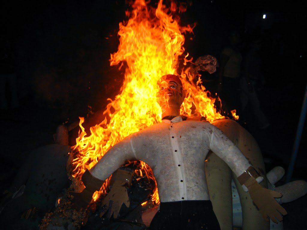 Burning an effigy on New Years Eve in Ecuador