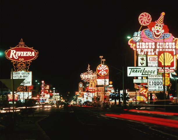 Las-Vegas street signs lit up at night