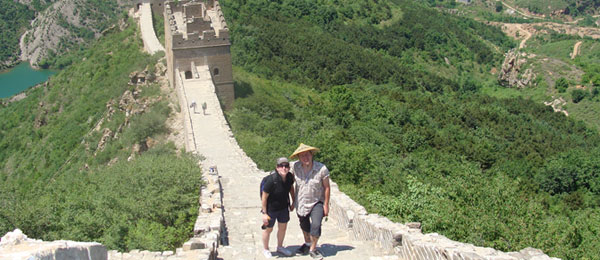 Couple posing on the Great Wall of China