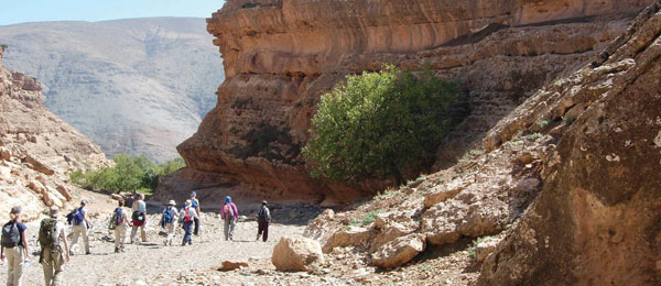 A group of tourists walking down a dry valley