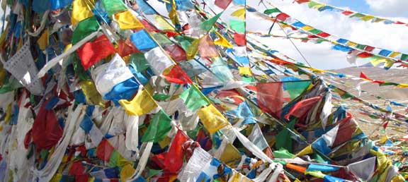 Prayer flags in the mountains in Nepal