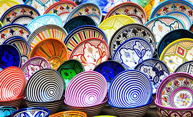 Traditional ceramic pottery in Essaouira, Morocco