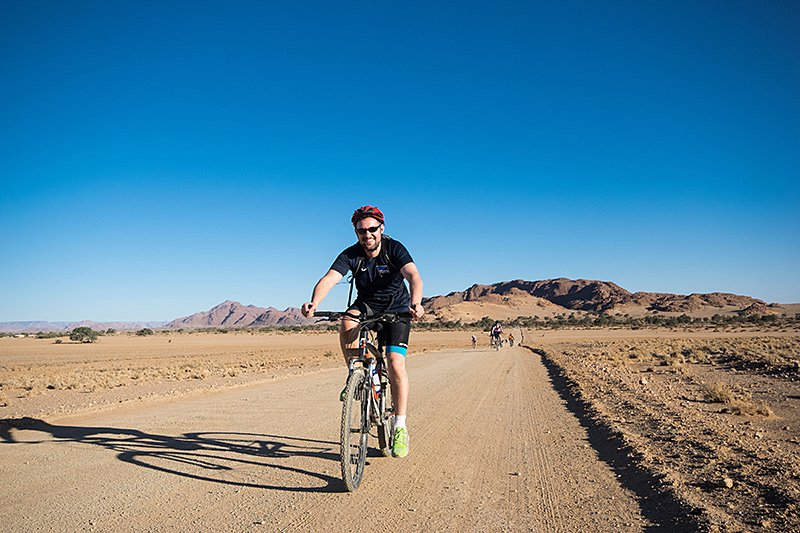 Cyclist in Namibia