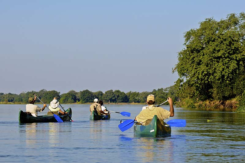 Canoes on the Zambezi River