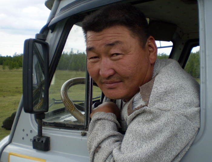 Man in truck in Mongolia